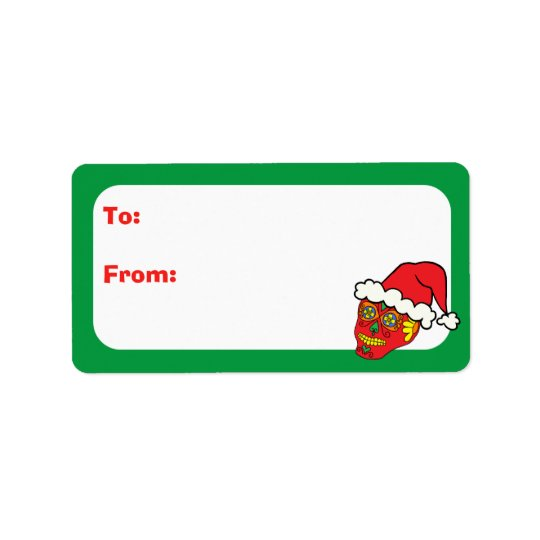 Customisable Xmas Santa Sugar Skulls Label