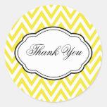 Customisable Yellow Chevron Thank You Sticker