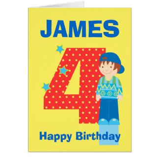 Customise age and name boy's birthday card