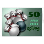 Customise Age  bowling Birthday Greeting Card