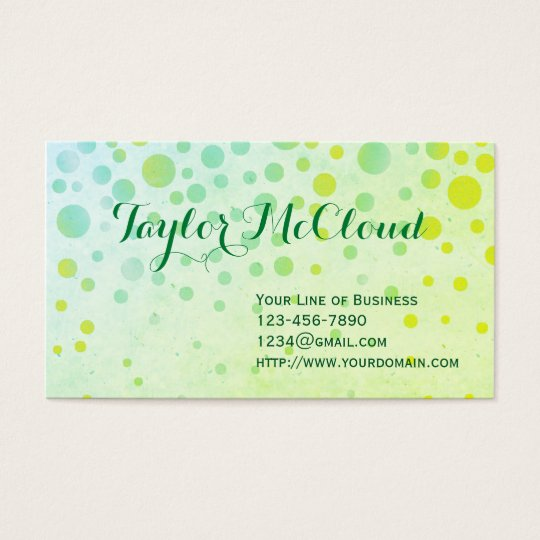 Customise both sides of Green Bubbles Business Card