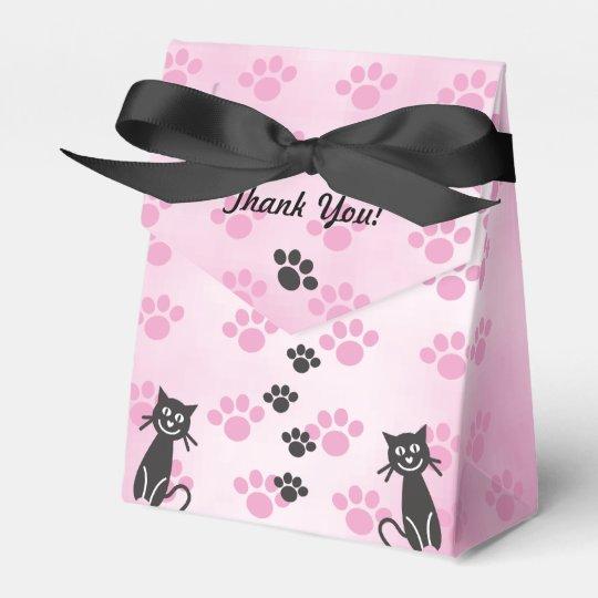 Customise Cat Pink Black Paw Prints Wedding Favour Box