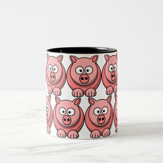 Customise Cute Pig Two-Tone Coffee Mug