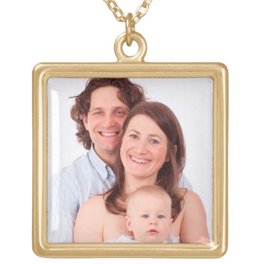 Customise family photo gold plated necklace