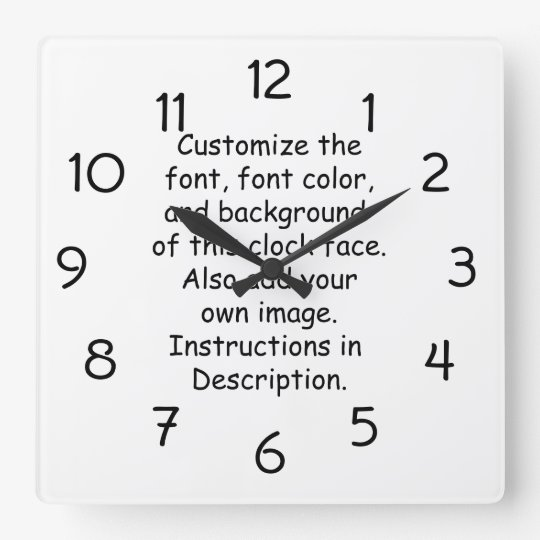Customise Font, Font Colour, Background, Image Square Wall