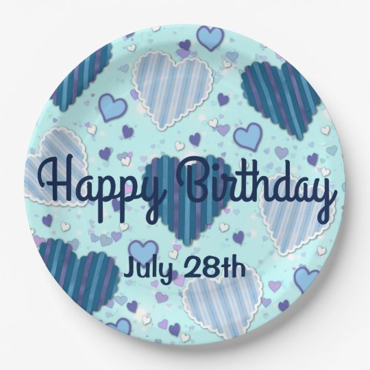 Customise Happy Birthday Blue Patchwork Hearts 9 Inch
