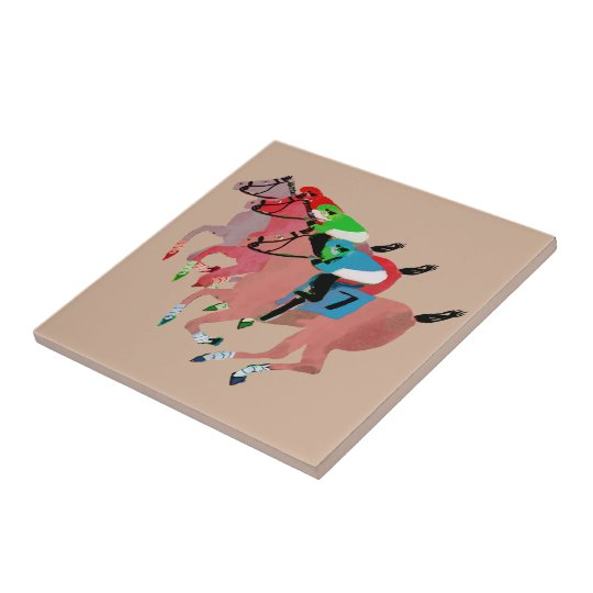 Customise Horse Racing  Design Small Square Tile
