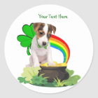 Customise It! Jack Russell St. Patricks Day Design Classic Round Sticker