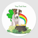 Customise It! Jack Russell St. Patricks Day Design Round Sticker