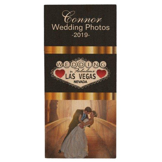 Customise Las Vegas Wedding Photo Design Wood USB