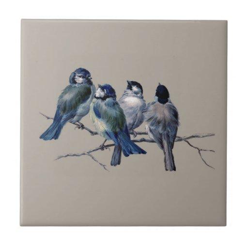 Customise lovely vintage art blue birds on branch ceramic tiles