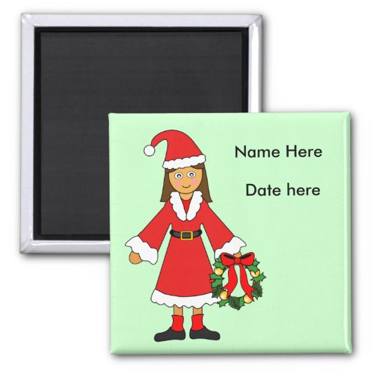 Customise Me -- Cute Christmas Picture (girl) Square Magnet