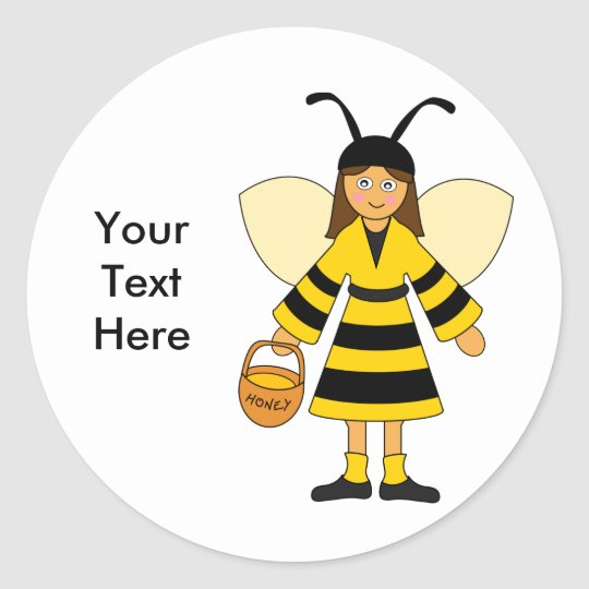 Customise Me -- Girl in Bee costume Classic Round Sticker
