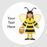 Customise Me -- Girl in Bee costume Round Sticker