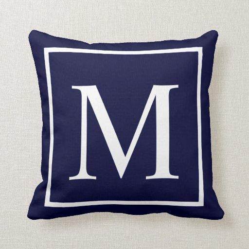 Customise monogram on navy blue throw pillow