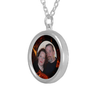 Customise Oak Flame Oval Frame with Your Photo Round Pendant Necklace