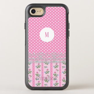 Customise pink polka dot floral cute design art OtterBox symmetry iPhone 8/7 case