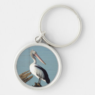 Customise Product pelican perspective Silver-Colored Round Key Ring
