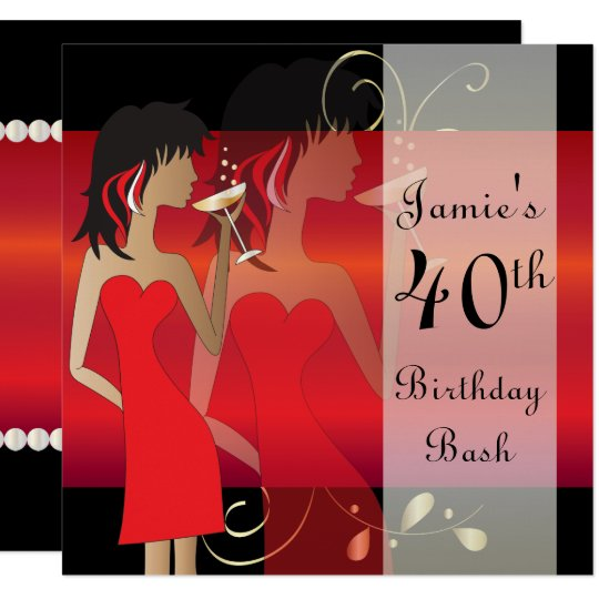 Customise Red Birthday Bash Party Invitation