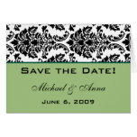 Customise Save The Date Baroque Black and Green Greeting Card