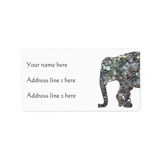 Customise Sparkly colourful silver mosaic Elephant Address Label