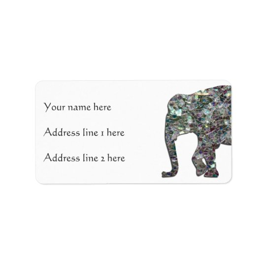 Customise Sparkly colourful silver mosaic Elephant Label