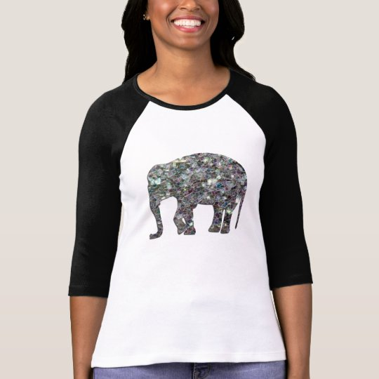 Customise Sparkly colourful silver mosaic Elephant T-Shirt