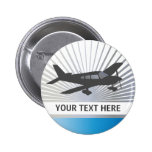 Customise Text - Low Wing Aeroplane Pinback Buttons