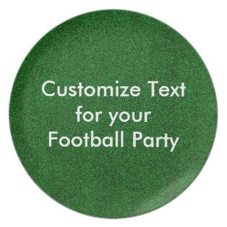 Customise text on melamine plate/football turf dinner plates