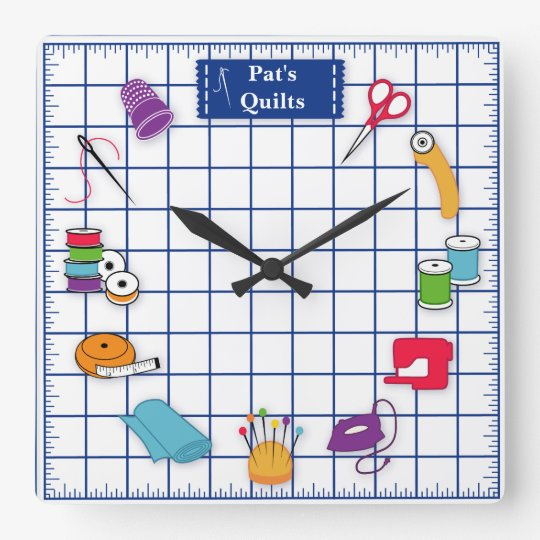 Customise the Label Quilt Time Square Wall Clock