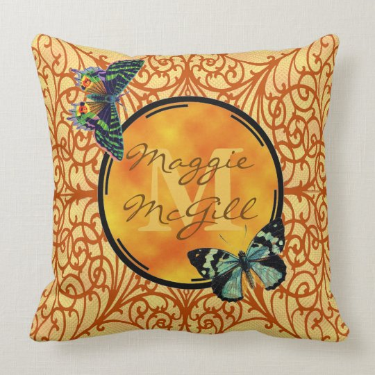 Customise this pretty yellow, filigree & butterfly cushion