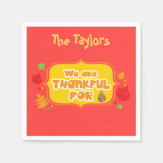 Customise We are Thankful For Red Thanksgiving Disposable Napkins