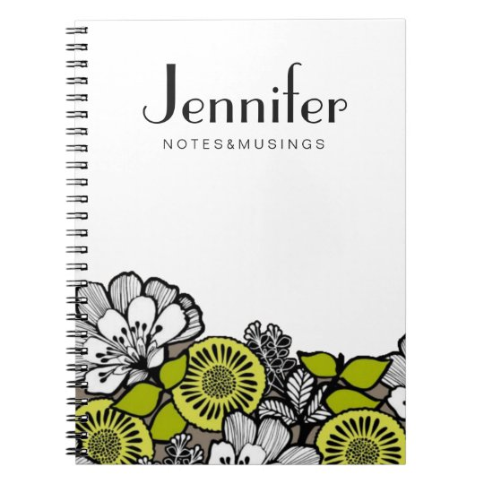 Customise Your Notebook - Grey Flowers