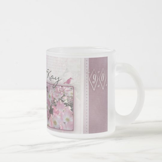 Customise your own 90th birthday frosted glass coffee
