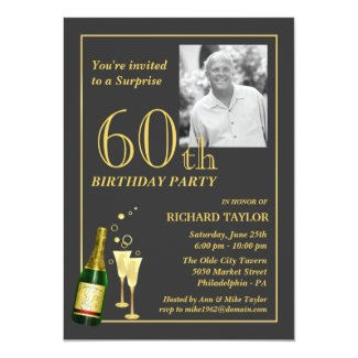Customised 60th Birthday Party Invitations