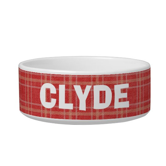 Customised Add a Name Red Plaid Pet Dish