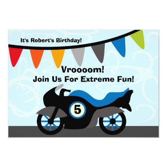 Customised Biker Motorcycle Birthday Invitations