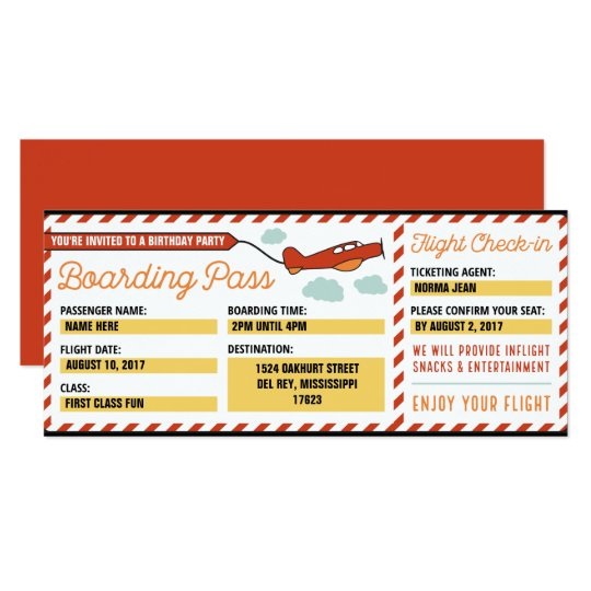 Customised Birthday Party Boarding Pass Invitation