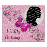Customised Butterfly Birthday Poster