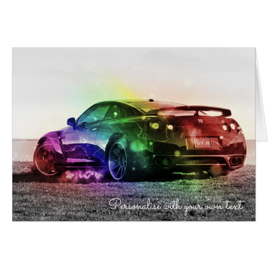 CUSTOMISED COLORFUL SPORTS CAR GREETING CARD