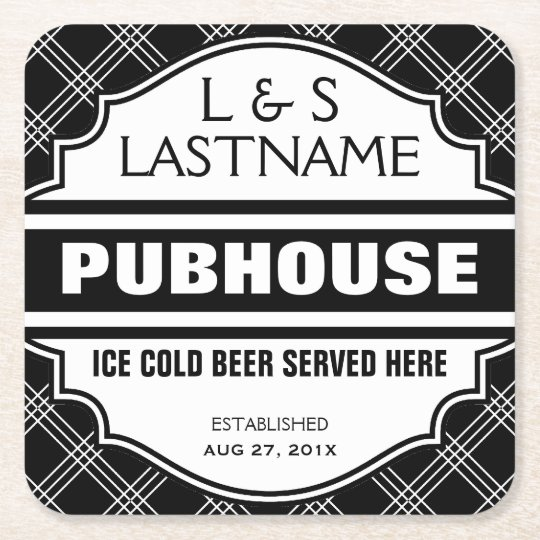 Customised Couple Pubhouse Beer Here Square Paper Coaster