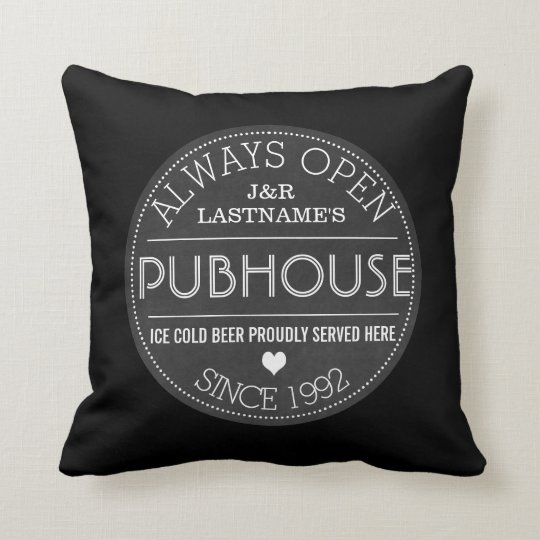 Customised Couple Pubhouse Beer Served Here Cushion