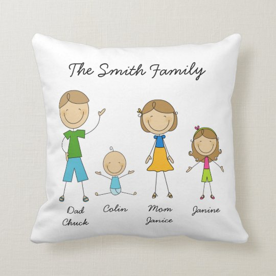 Customised Family Stick Figure Pillow