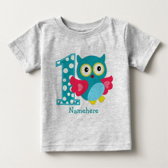 Customised First Birthday Owl Baby T-Shirt