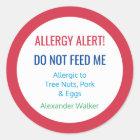 Customised Food Allergy Alert Personalised Kids Classic Round Sticker
