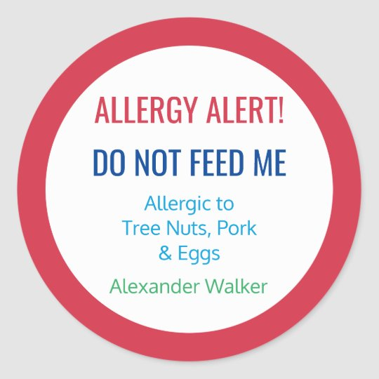 Customised Food Allergy Alert Personalised Kids Classic Round