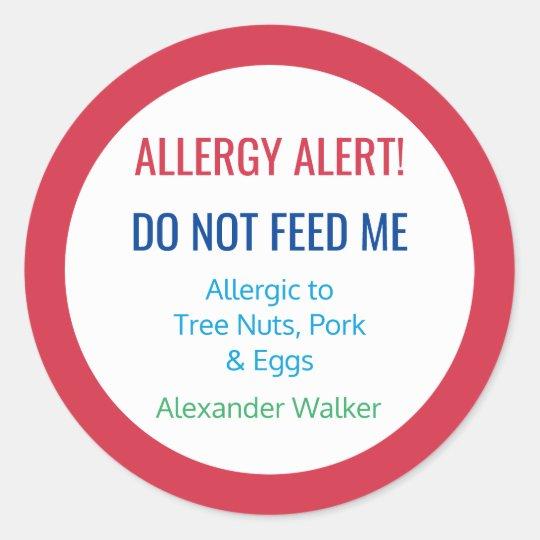 Customised Food Allergy Alert Personalised Kids Round Sticker