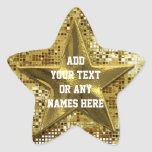 Customised Gold Star On Gold Sequins Star Sticker