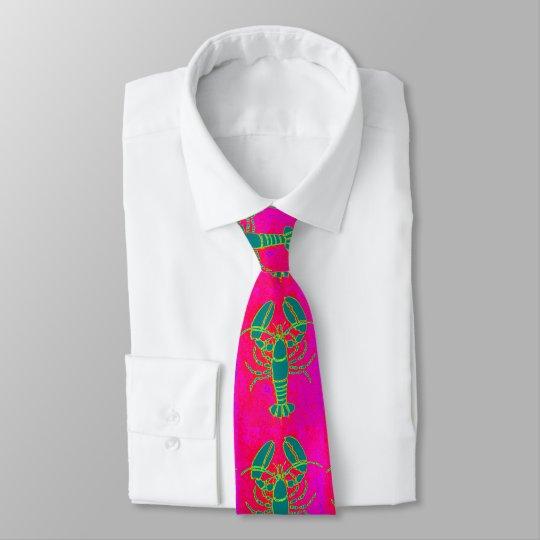 Customised green lobster pink tie