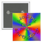 Customised Happy Birthday Rainbow Button